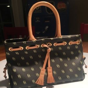 Dooney and Bourke Tiny Tassel Tote Dk Brown Logo